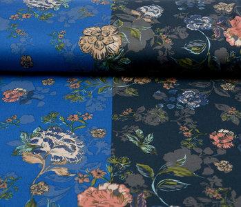 Lycra Tricot Crepe  Simmer Flowery Zweifarbiges Blau