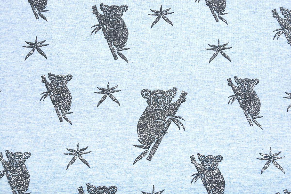 Mi & Joe Mi & Joe Jersey Stoff Baumwolle Koala Hellblau Meliert
