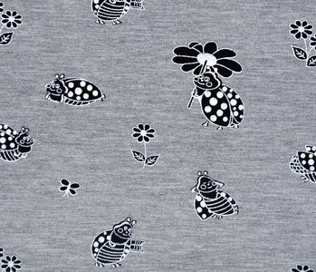 Mi & Joe Mi & Joe French Terry Marienkäfer met bloem Grau Meliert