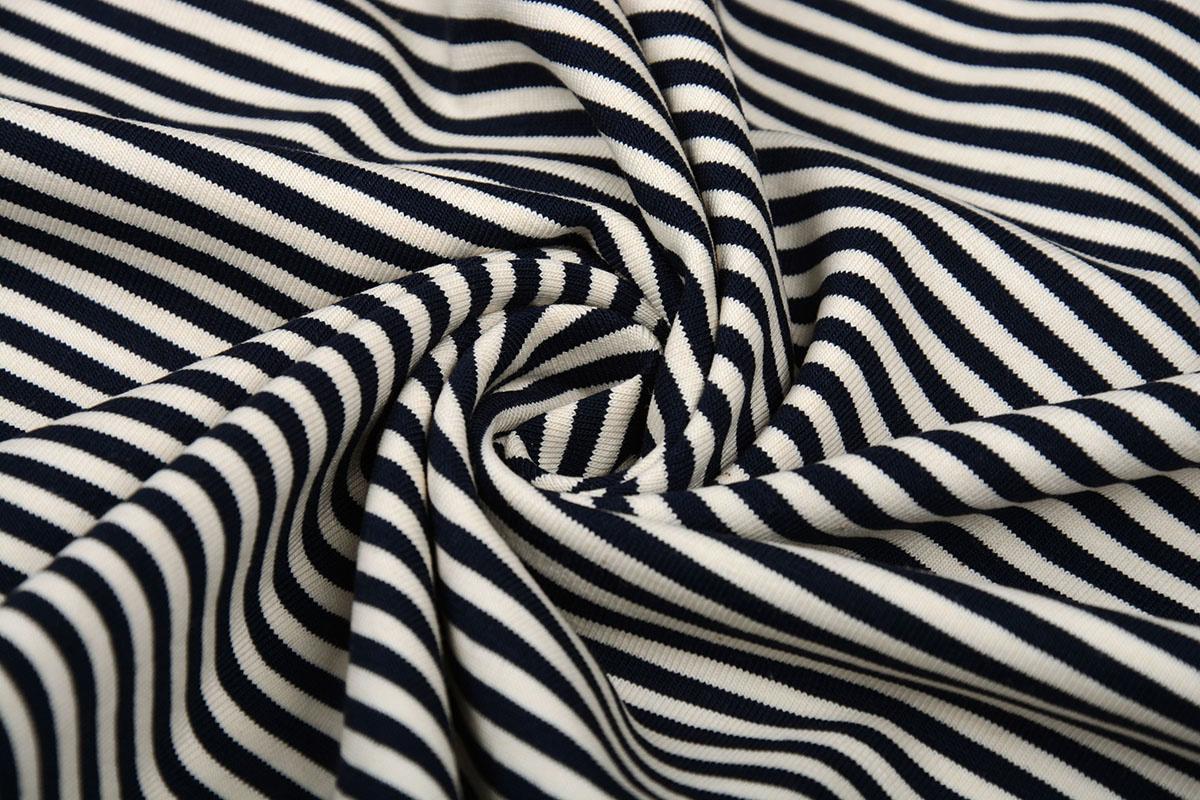 Baumwolljersey mittel Streifen Marineblau Creme