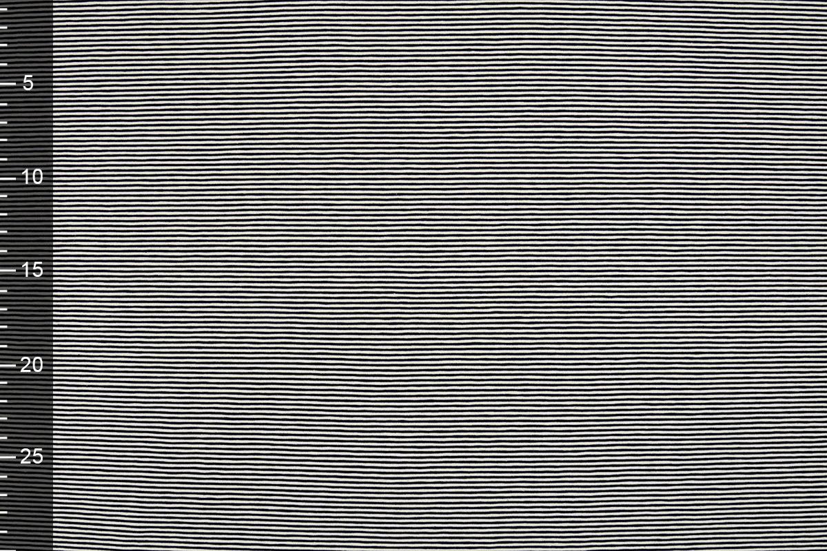 Baumwolljersey Kleiner Streifen Marineblau Creme