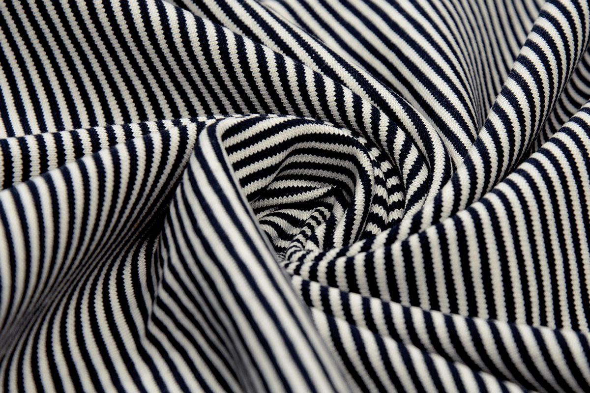 Cotton Jersey Klein Streep Marine Creme