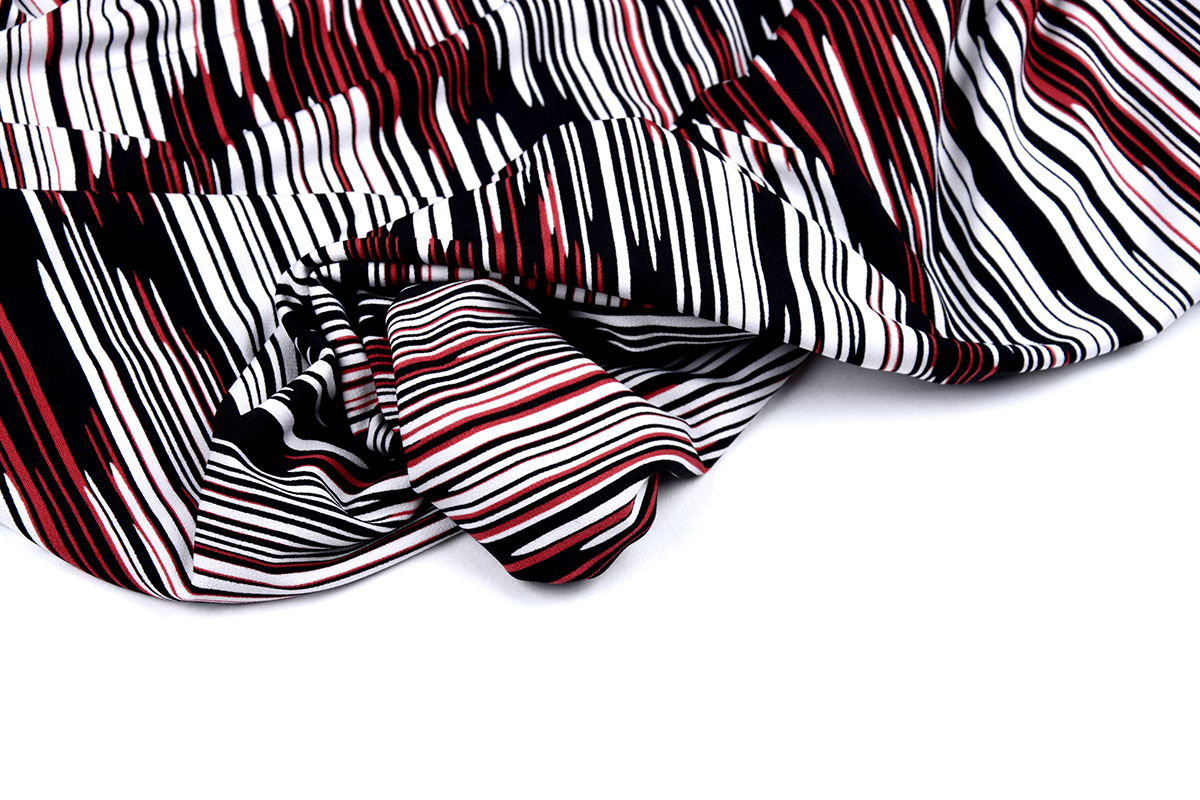 Travel Crepe Simmer Abstract Stripes Red