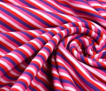 Jersey Stoff Baumwolle Streifen Multi Farbe Rosa