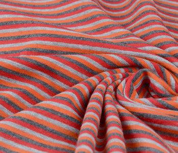 Jersey Stoff Baumwolle Streifen Multi Farbe Orange