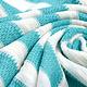 Gestrickte Baumwollstreifen Aqua und Créme