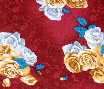 Viskose Große Rosen Weinrot
