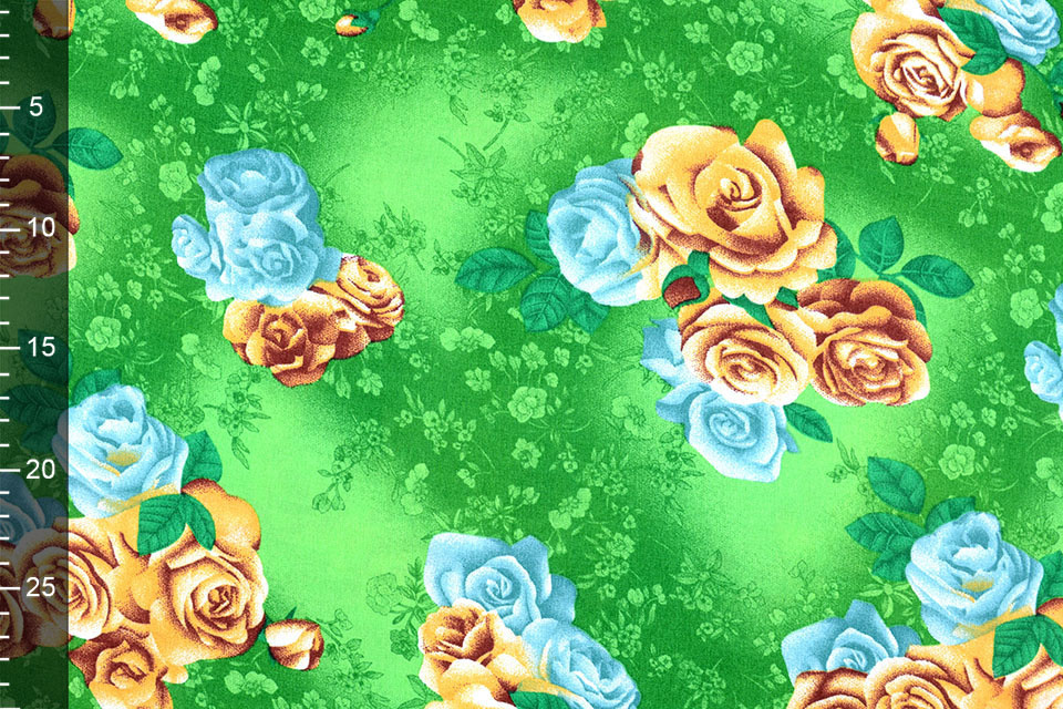Viskose Große Rosen Grün