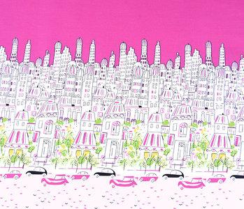 Doppelter Rand Baumwolle Stadt Paris Rosa