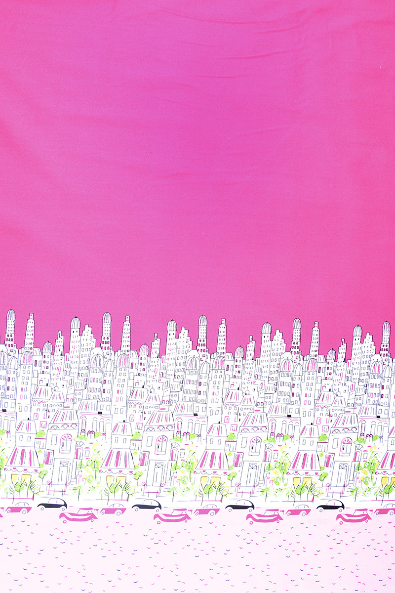 Dubbele rand Katoen Stad Paris Roze