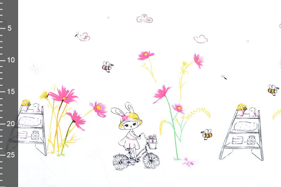 Dubbele rand Katoen lente fietsend konijntje