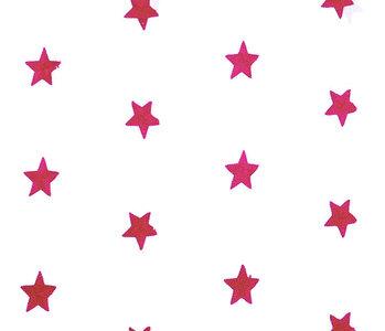100% Cotton Stars bestickt Weiß Fuchsie