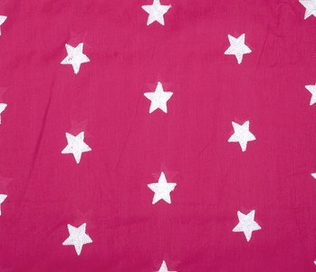 100% Cotton Stars embroidered Fuchsia White