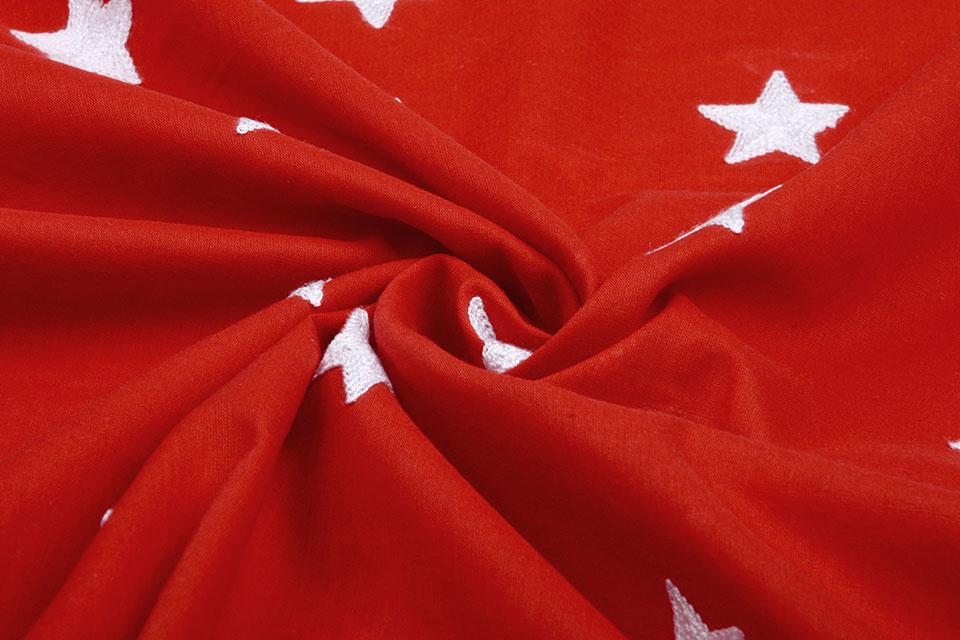 100% Katoen Sterren geborduurd Rood Wit
