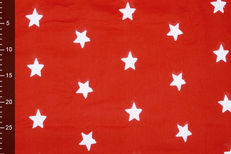100% Cotton Stars bestickt White Rot Weiß
