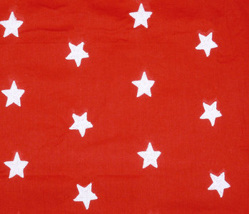 100% Cotton Stars embroidered Red White
