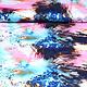 100% Viskose Digital Printed Arti Rosa Aqua
