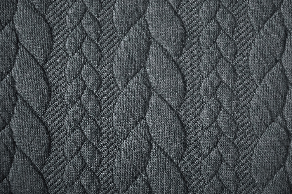 Gestrickte Kabel Stoff tricot Dunkel Grau