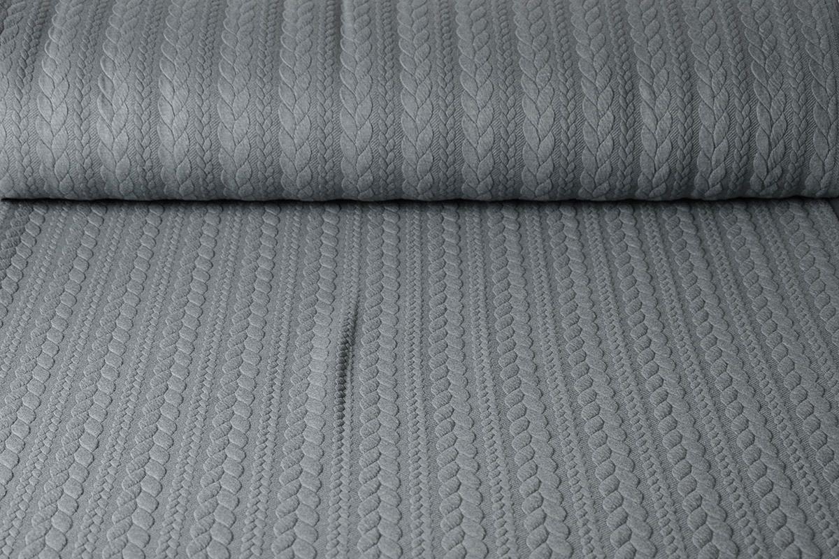 Gebreide kabel stof tricot Licht Grijs