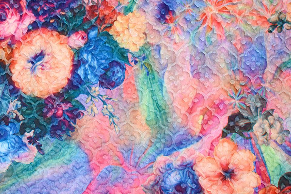 Kapitone Tricot Digitaal Bedrukt Bloemen Multi Rainbow