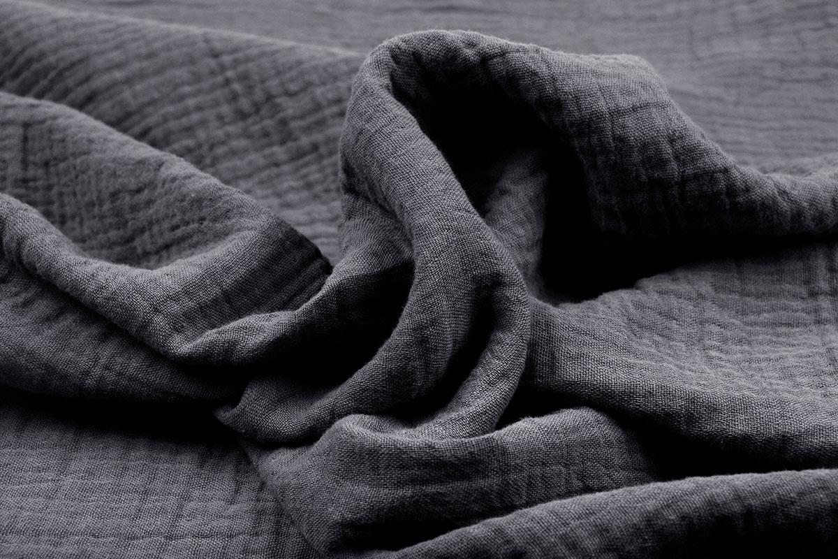 Baumwoll Musselin Stoff Grau