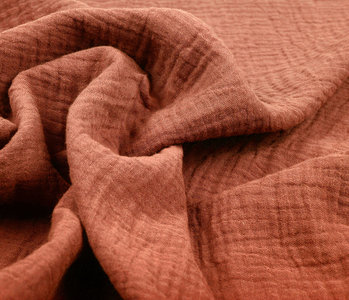 Baumwoll Musselin Stoff Orange Brique