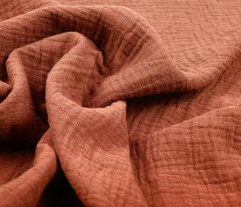 Double Gauze Fabric Orange Brique