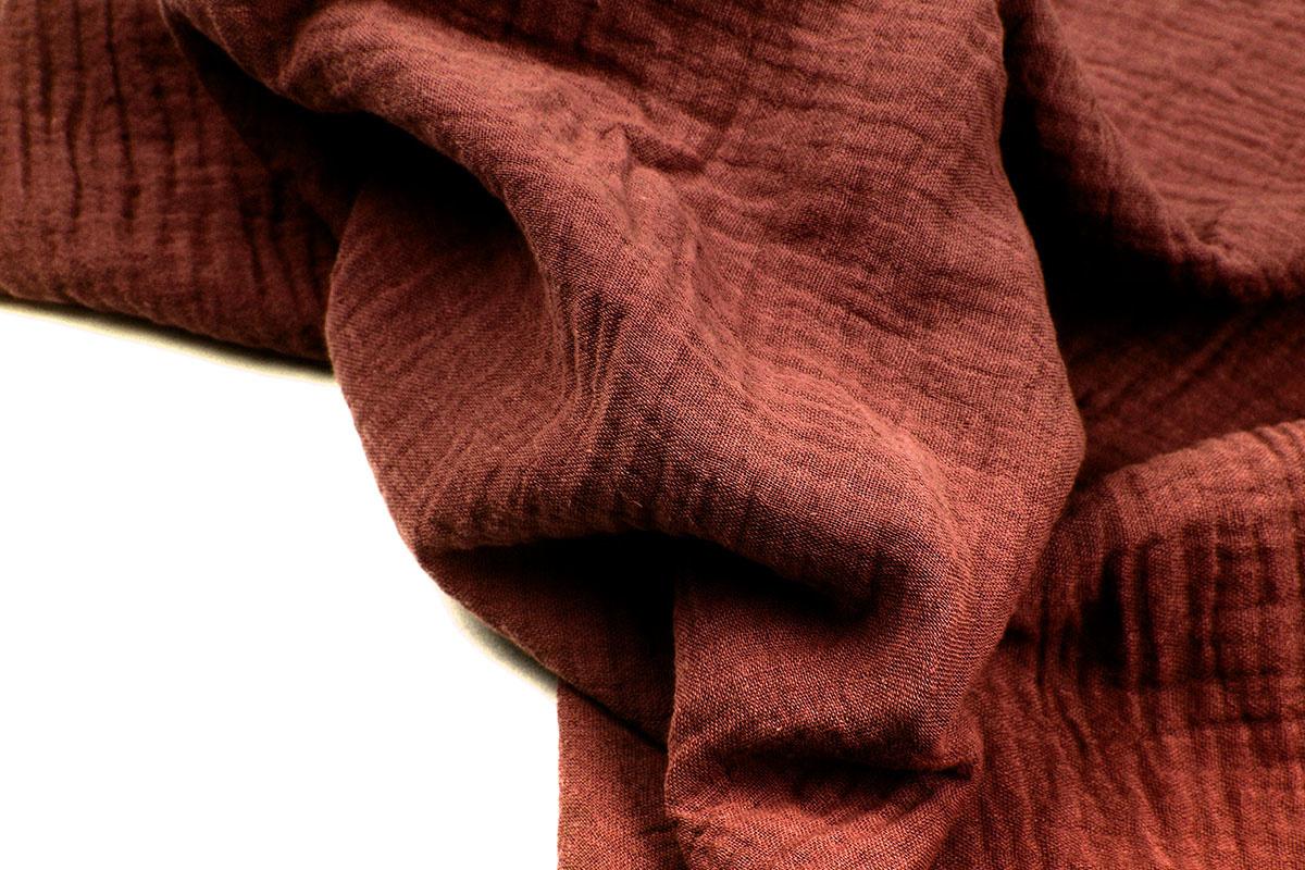 Double Gauze Fabric Rust Brique