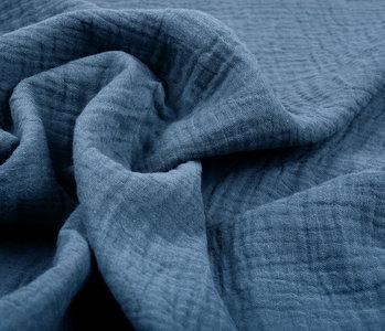 Double Gauze Fabric Police Blue