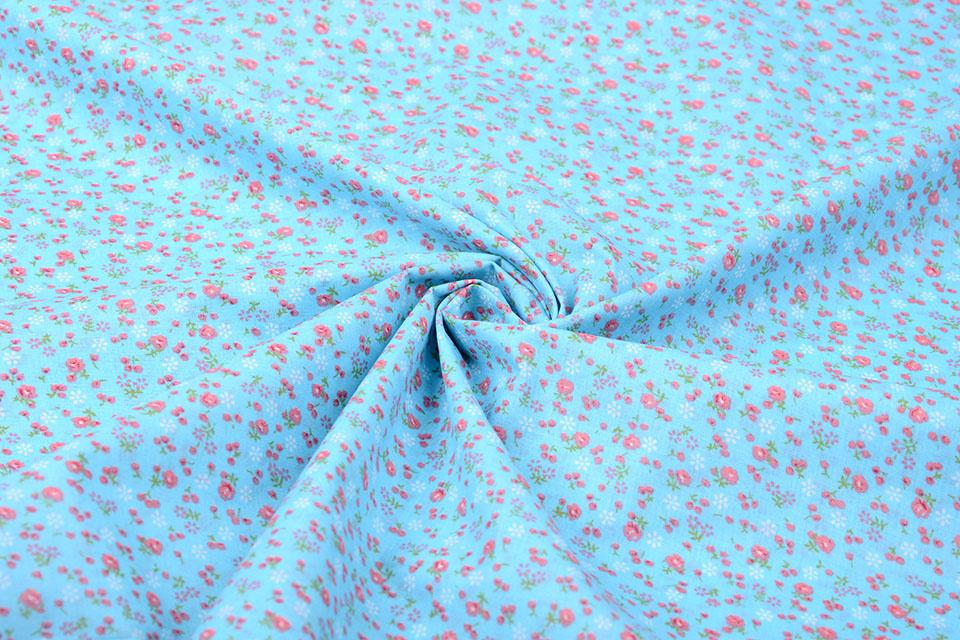 100% Cotton Floral Print Petitro Blue