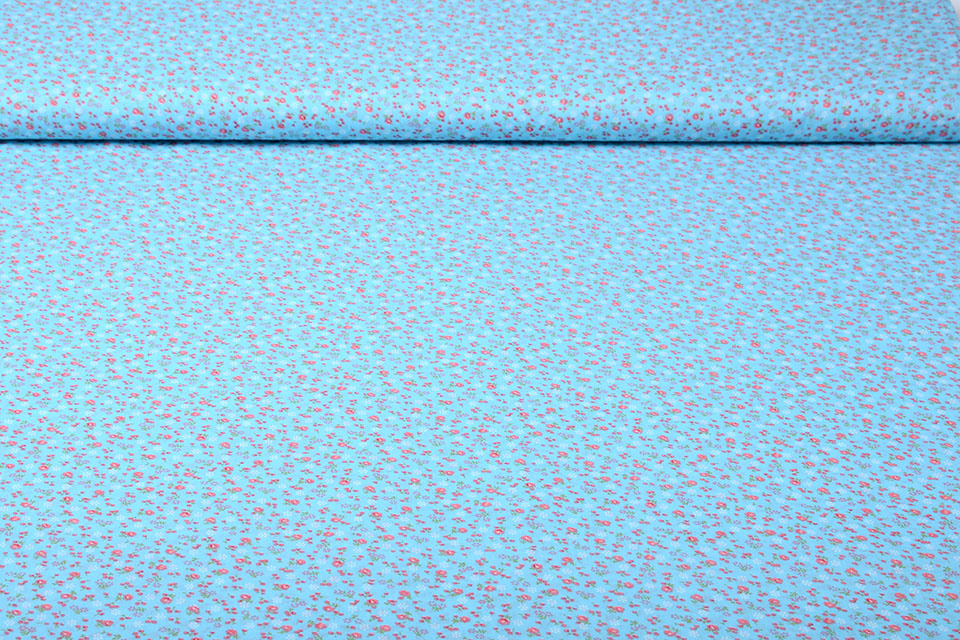 100% Baumwolle Blumendruck Petitro Blau