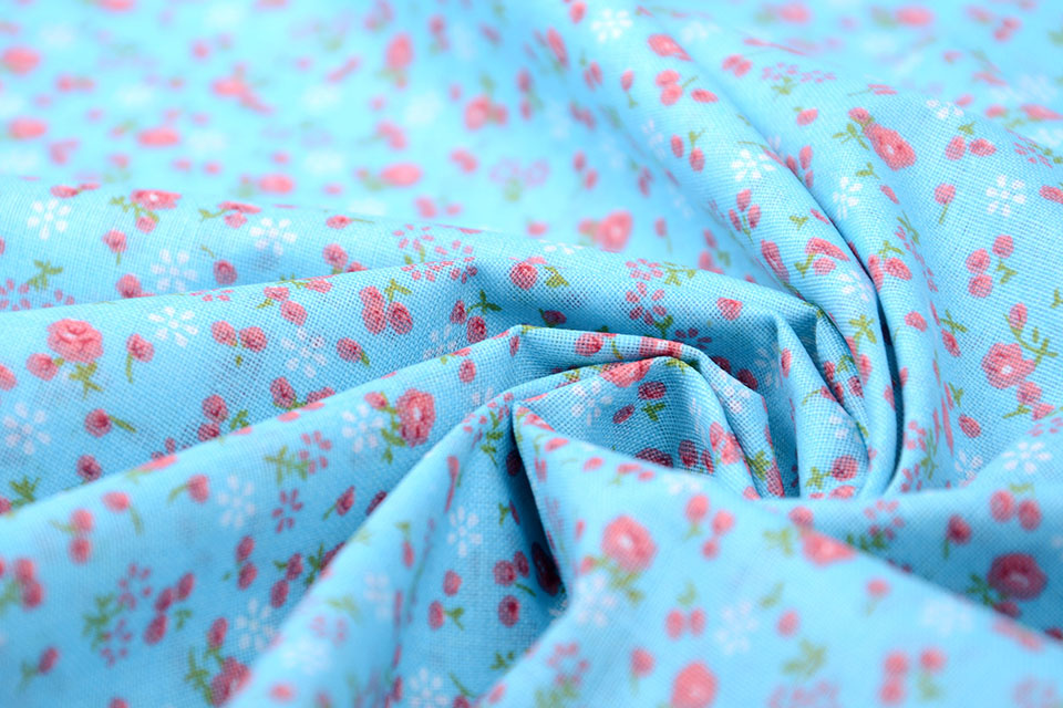 100% Katoen Bloemenprint Petitro Blauw