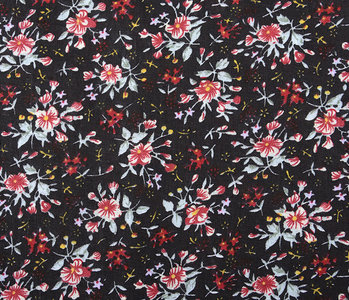 100% Cotton Floral Print Hanna Black