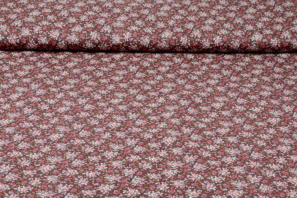 100% Baumwolle Blumendruck Hanna Braun