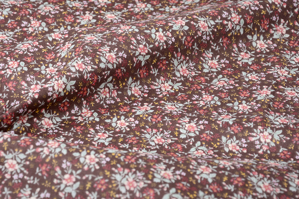 100% Cotton Floral Print Hanna Brown