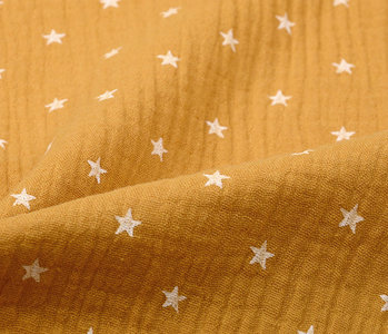 Double Gauze Fabric  stars Ocher Yellow