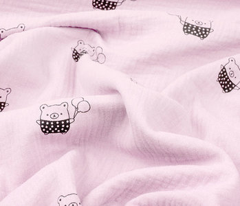 Double Gauze Fabric Bears Light pink