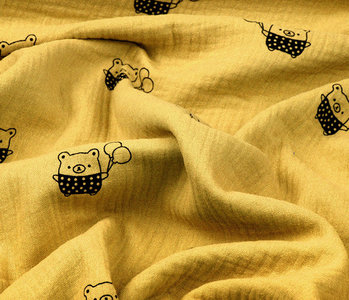 Double Gauze Fabric Bears Ocher Yellow