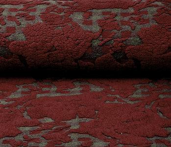 Knitted Woolen fabric Sheep Wool look Diamond Bordeaux