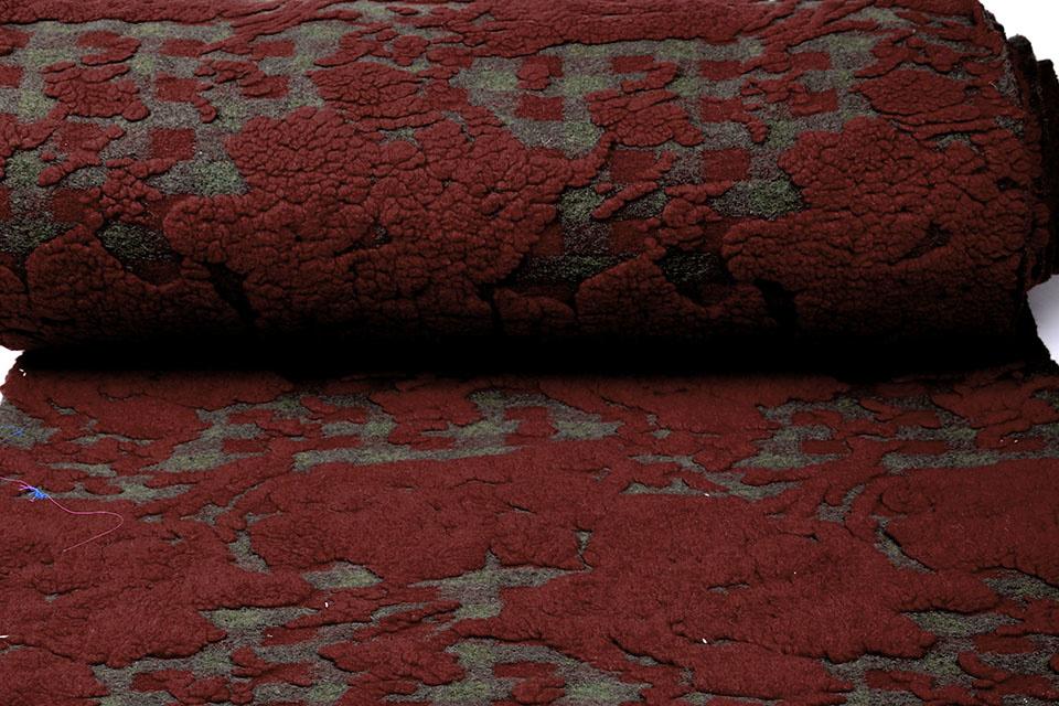 Gebreide Wollen stof Schapenwollook Ruit Bordeaux