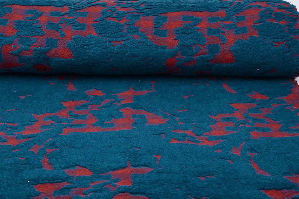 Gestrickter WollStoff Schafwolle aussehen Petrol Rot