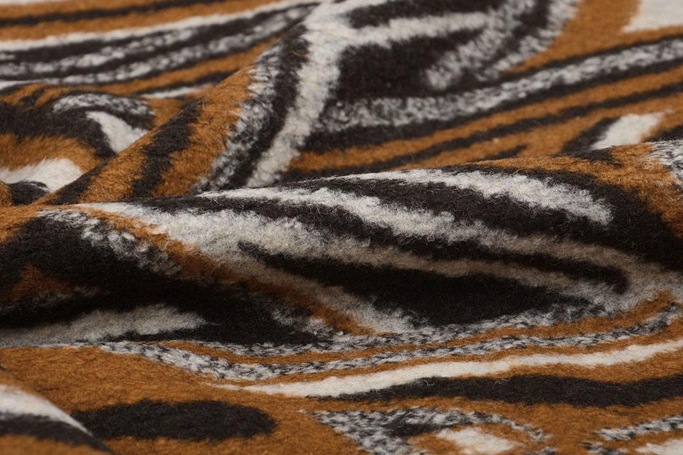Gebreide Wollen stof Retro Bruin Zwart