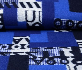Knitted Woolen fabric Quilt look Numbers Blue