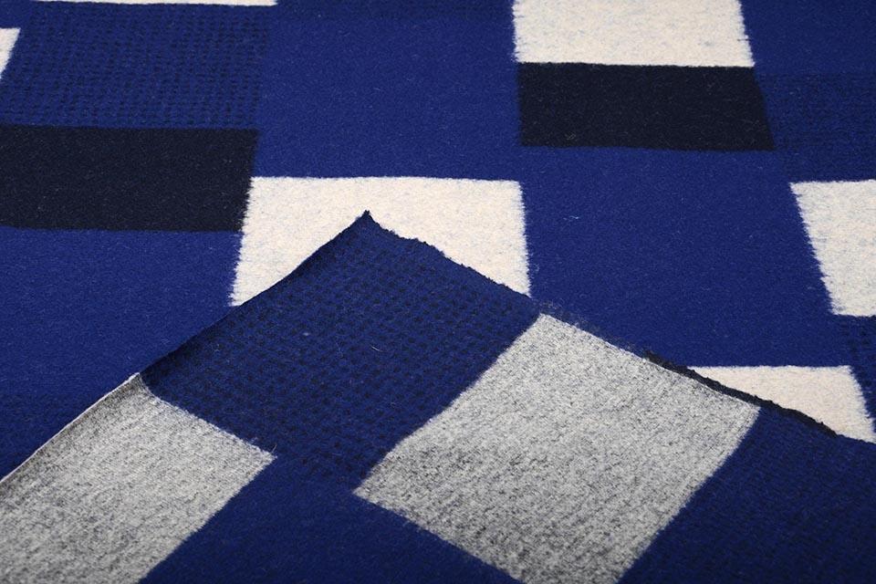 Gebreide Wollen stof Geblokt Kobaltblauw