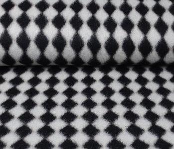 Gestrickter WollStoff Tartan schwarz weiss