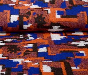 Knitted Woolen Fabric Orange Blue