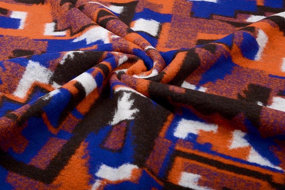 Gestrickter Wollstoff Orange Blau