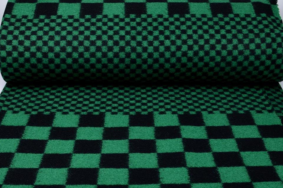Gebreide Wollen stof Geblokt Groen