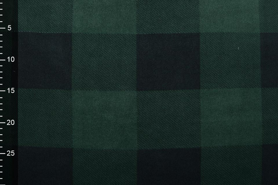 Jogging Curly Teddy Fabric Checkered Green Black