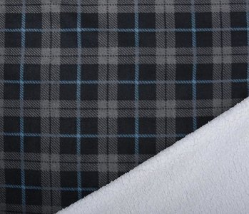 Jogging Curly Teddy Fabric Checkered Grey Blue